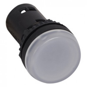 Osmoz one-piece pilot light with integrated LED to be used without electrical block - white - 24 V~/=