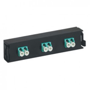 LCS³ fibre optic block - multimode fibre optic block - LC duplex block for 6 multimode fibre optics - aqua