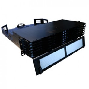 LCS³ ultra high density modular fibre optic drawer with front facing cord management - 2U - to be equipped with cassette