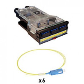 LCS³ pre-equipped fibre optic cassettes for OS2 single-mode installation with 1 SC duplex block for 6 fibres