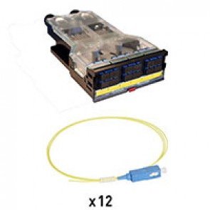 LCS³ pre-equipped fibre optic cassettes for OS2 single-mode installation with 1 SC duplex block for 12 fibres