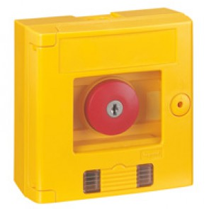 Break glass emergency box-mushroom head-surface mounting-IP44-yellow box w LED
