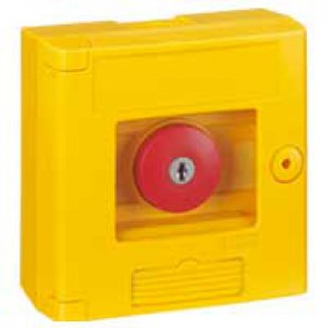 Break glass emergency box-mushroom head-surface mounting-IP44-yellow box without LED