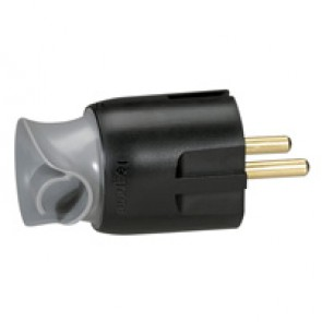 2P+E plug - 16 A - Fr/German standard - cable orientation - black/grey - gencod label