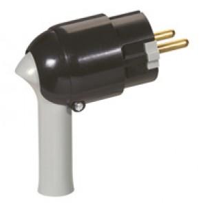 2P+E plug - 16 A - Fr/German standard - easy extraction - black/grey - gencod label