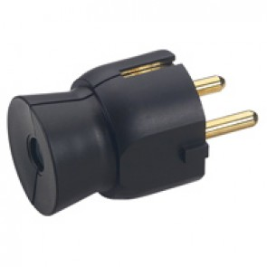 2P+E plug - 16 A - German standard - plastic straight outlet - black - gencod label