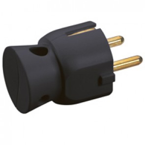 2P+E plug - 16 A - German standard - plastic side outlet - black - gencod labelling