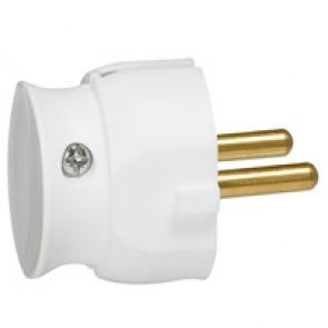 2P plug - 16 A - plastic extra slim - white - gencod labelling