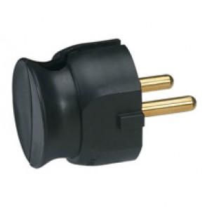 2P plug - 16 A - plastic extra slim - black - gencod labelling