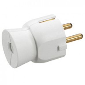 2P+E plug - 16 A - German standard - plastic straight outlet - white - gencod label