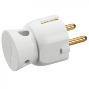 2P+E plug - 16 A - German standard - plastic side outlet - white - gencod labelling