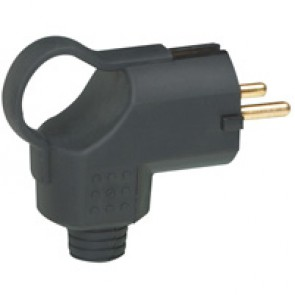 2P+E plug - 16 A - German/Fr standard - rubber - side outlet + ring - bulk