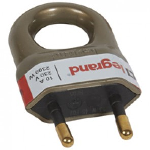 2P plug - 10 A - plastic with extraction ring - bronze - gencod labelling