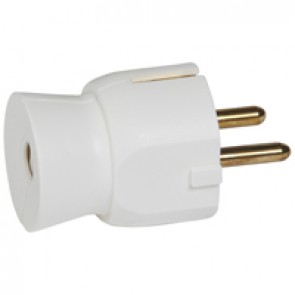 2P+E plug - 16 A - German standard - plastic straight outlet - white - bulk