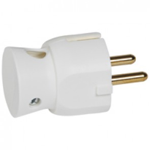 2P+E plug - 16 A - German standard - plastic side outlet - white - bulk