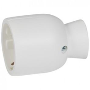 2P+E extension - 16 A - German standard - plastic straight outlet - white - bulk