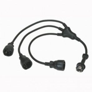 2P+E multi-socket octopus extension leads - German standard - rubber - 0.8 m