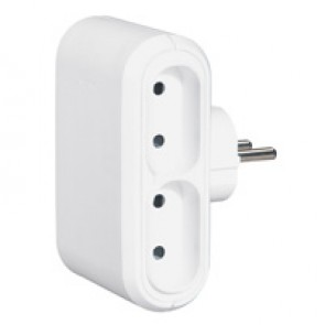 2P multi-socket plug - 4 side outlet - white - German/Fr standard - cardboard