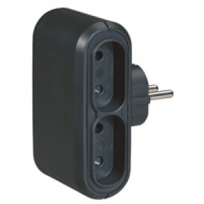 2P multi-socket plug - 4 side outlet - black - German/Fr standard - cardboard