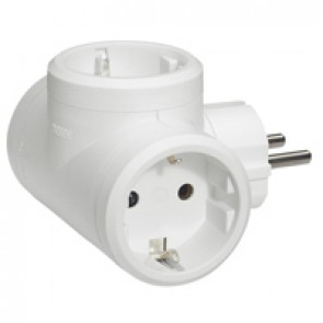 2P+E multi-socket plug - German standard - 3 side outlets - white - cardboard