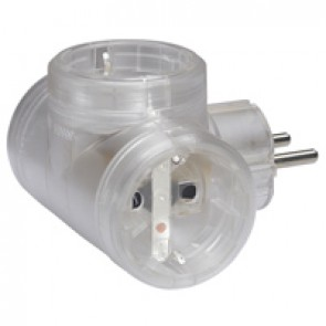 2P+E multi-socket plug - German standard - 3 side outlets - transparent - cardboard