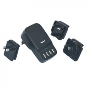 Universal USB charger with four 6.8 A USB ports and four international adaptors