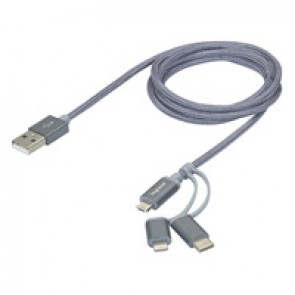 3-in-1 USB cable - allows to connect/charge/synchronize 3 types of devices with only one cable