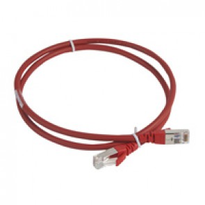 Patch cord category 6 A - S/FTP shielded - LSZH - length 1 m - red