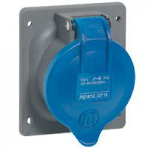 Panel mounting socket fixing centre Hypra - IP44 -200/250 V~ -16 A -2P+E -plastic