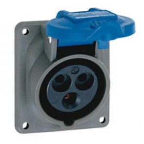 Panel mounting socket inclined outlet Hypra- IP44 -200/250 V~ - 16 A -2P+E -plast