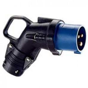 Angled plug Hypra - IP44 - 200/250 V~ - 16 A - 2P+E - rubber