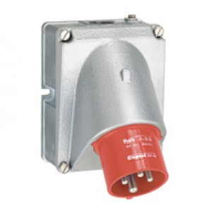 Panel appliance inlet Hypra - IP44 - 380/415 V~ - 16 A - 3P+E - metal