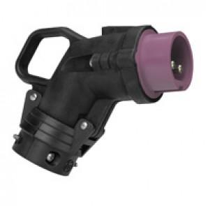 Angled plug Hypra - IP44 - 20/25 V~ - 16 A - 2P - rubber