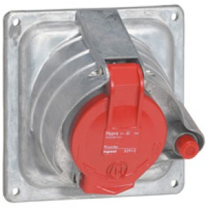 Panel mounting socket Prisinter Hypra - IP44 -380/415 V~ - 32 A - 3P+E - metal