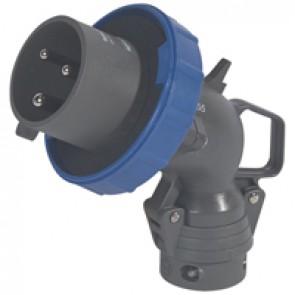 Angled plug Hypra - IP66/67-55 - 200/250 V~ - 32 A - 2P+E - plastic