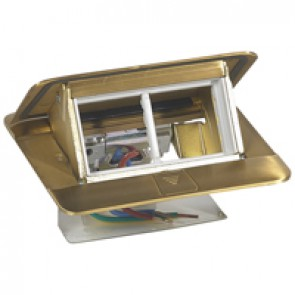 Pop-up box to be equipped - 4 modules - brushed brass