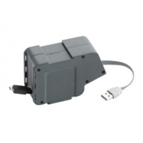Prewired modules with retractable cords for desk grommets - USB / micro-USB