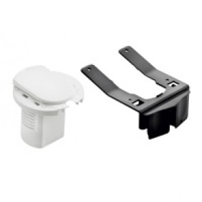 Desk grommet to be equipped - for 1 x 2P+E socket - white