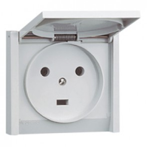 Socket outlet Plexo - IP44 - 20 A - 2P+E - flush mounting - grey