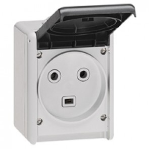 Socket outlet Plexo IP55 - 32 A - 2P+E 230 V~ - surface mounting - grey