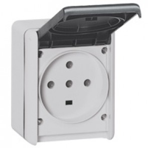 Socket outlet Plexo IP55 - 32 A - 3P+N+E 230 V~ - surface mounting - grey