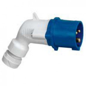 P 17 Tempra Pro IP 44 2P+E angled plug LV 16 A with male connector - 200 to 250 V~ - 50/60 Hz