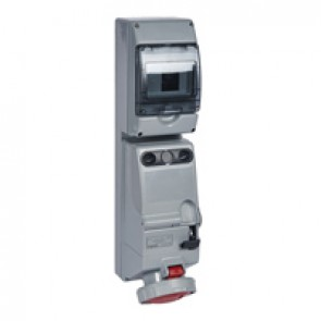 Combined unit P17 - with DIN rail - IP66 - 380/415 V~ - 63 A - 3P+N+E