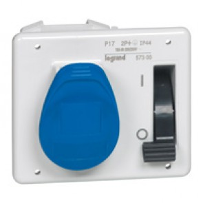 Interlocked switched socket with small flange P17 - IP44 - 200/250 V~ - 16 A -2P+E