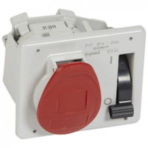 Interlocked switched socket with small flange P17 - IP44 - 380/415 V~ - 16 A -3P+E