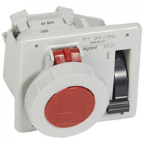 Interlocked switched socket with small flange P17 - IP55 - 380/415 V~ - 16 A -3P+E