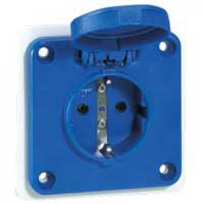 Panel mounting socket P17 - IP54 - IK09 250 V~ - 2P+E - blue
