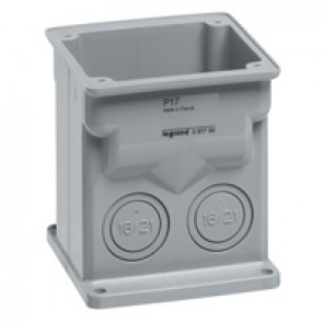 Surface mounting box for one 16 A or 32 A P17 Tempra panel mounting socket with inclined outlet