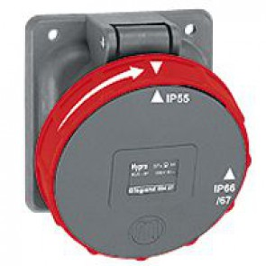Panel mounting socket Hypra - IP66/67-55 - 380/415 V~ - 63 A - 3P+E - plastic