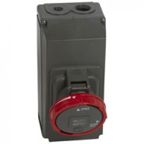 Surface mounting socket Hypra - IP66/67-55 - 380/415 V~ - 63 A - 3P+E - plastic